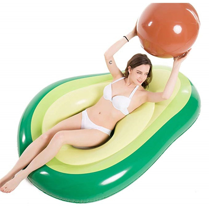 Inflatable Avocado Pool Floatie with Ball