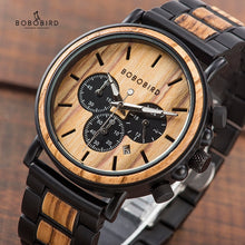 Load image into Gallery viewer, BOBO BIRD P09  Men Wood and Stainless Steel Watch