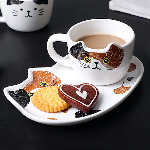 Cute Cat Ceramic Mug Set