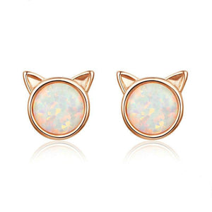 Rose Gold Cat Earrings