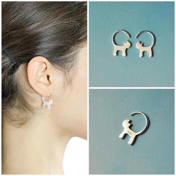 925 Silver Long Tailed Cat Earrings