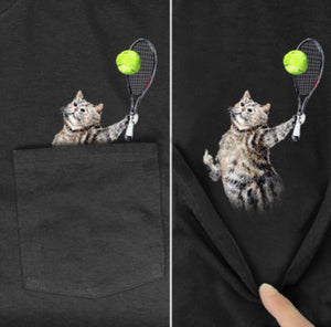 Funny Cat Pocket T-Shirt (10 Designs)