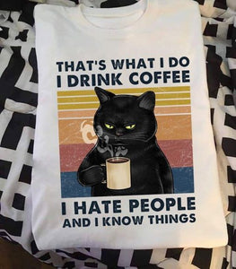 """I Drink Coffee"" Cat T-Shirt"