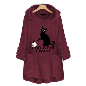 Fluffy Fleece Cat Hoodie