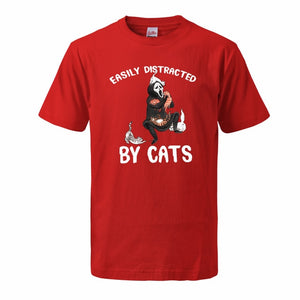 """Ealisy Distracted By Cats"" T-Shirt"