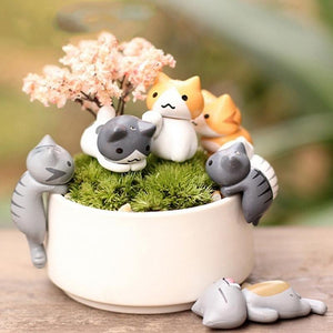 6 pcs Miniature Cat Garden Decorations