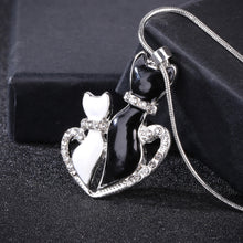 Load image into Gallery viewer, Crystal Black And White Cat Necklace