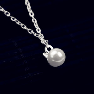 White Pearl Cat Necklace