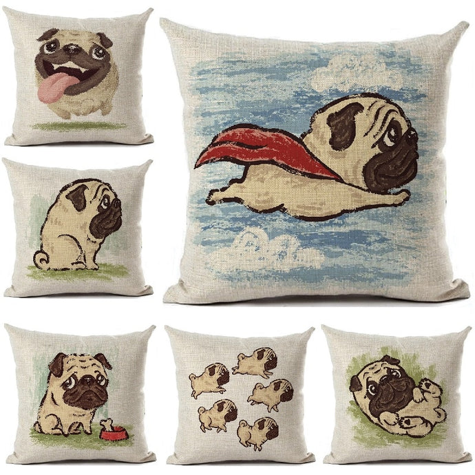 Dog Pug Cushion Pillow Cover