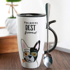 Cute Dog Ceramic Mug with Lid and Spoon