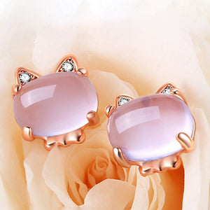 Rose Gold Cat Necklace, Earrings and Ring Set