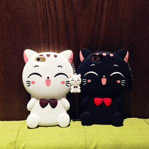 Cartoon Cat Silicone iPhone Case