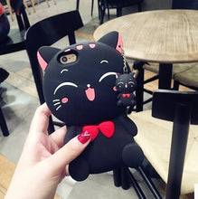 Load image into Gallery viewer, Cartoon Cat Silicone iPhone Case