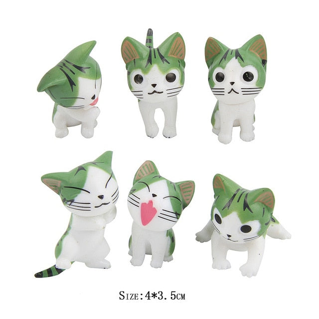 6 Pcs Mini Cats Garden Decoration