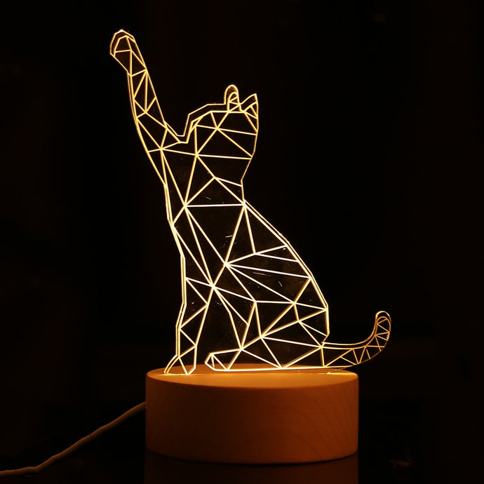 3D LED Kitty Night Light