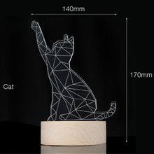Load image into Gallery viewer, 3D LED Kitty Night Light