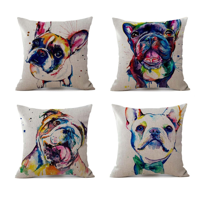 Colorful French Bulldog Pillow Case