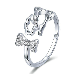 925 Sterling Silver Dog & Bone Ring