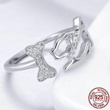 Load image into Gallery viewer, 925 Sterling Silver Dog & Bone Ring
