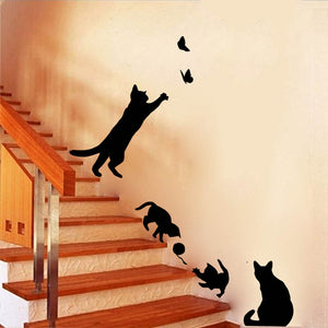 Cat Play Butterflies Wall Sticker Removable