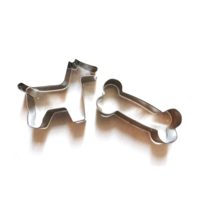 2 Pcs Metal Stainless Steel Dog & Bone Moulds