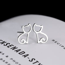 Load image into Gallery viewer, 925 Sterling Silver Kitten Earrings