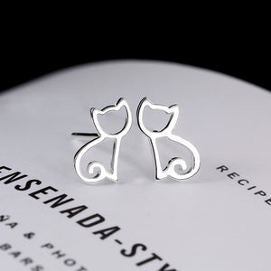 925 Sterling Silver Kitten Earrings