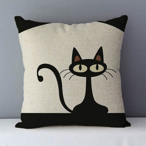 Cartoon Cat Printed Pillow Case