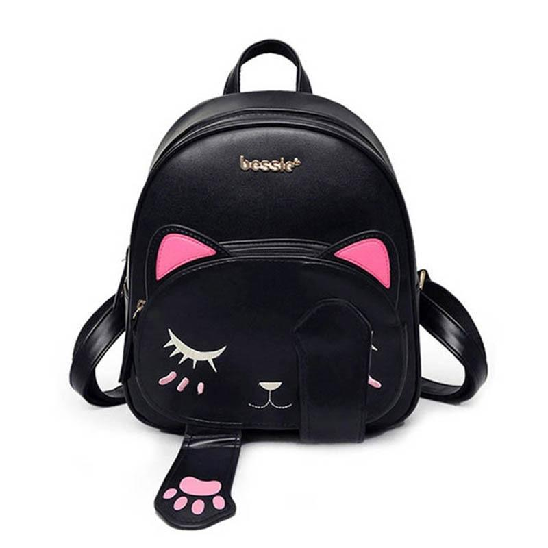 Cute Cat Leather Backpack