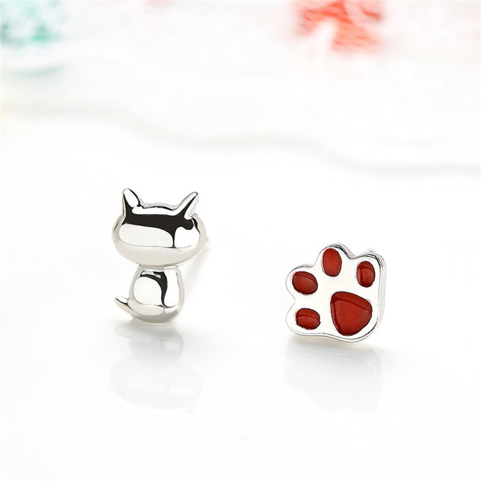 925 Sterling Silver Cat Paw Earrings