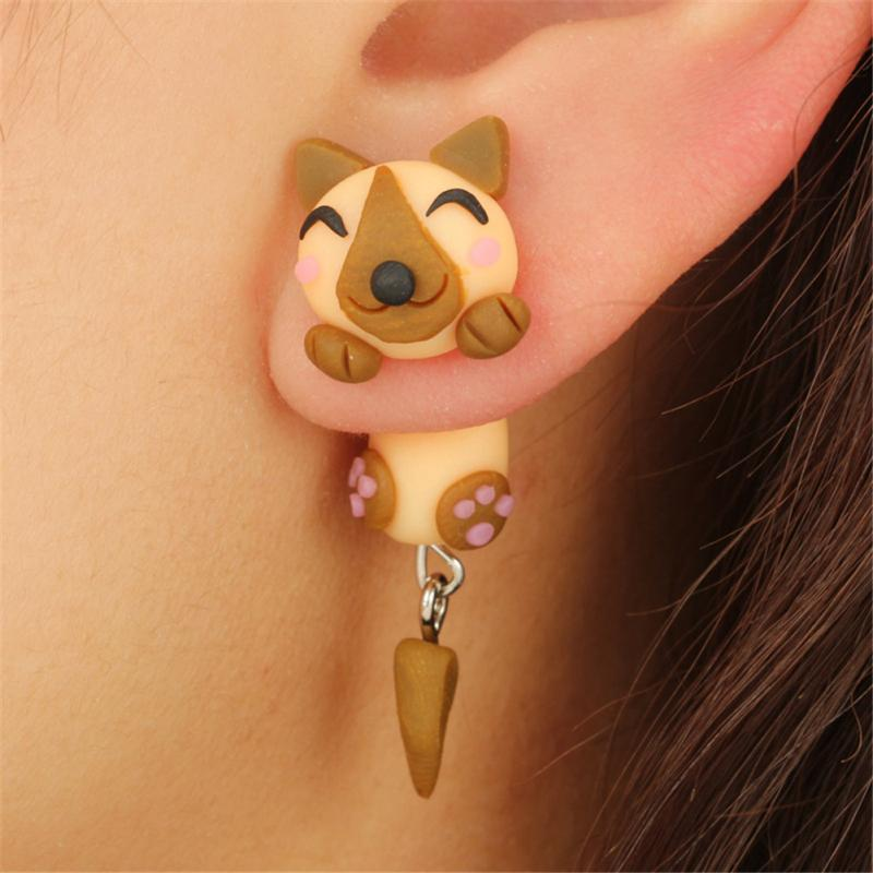 3D Brown Dog Earrings
