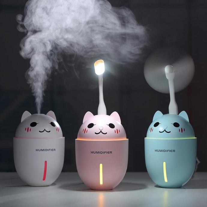 3 in 1 Cat Air Humidifier, Fan with LED Light