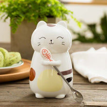 Load image into Gallery viewer, Cat Ceramic Mugs with 3D Lid and Spoon 400ml