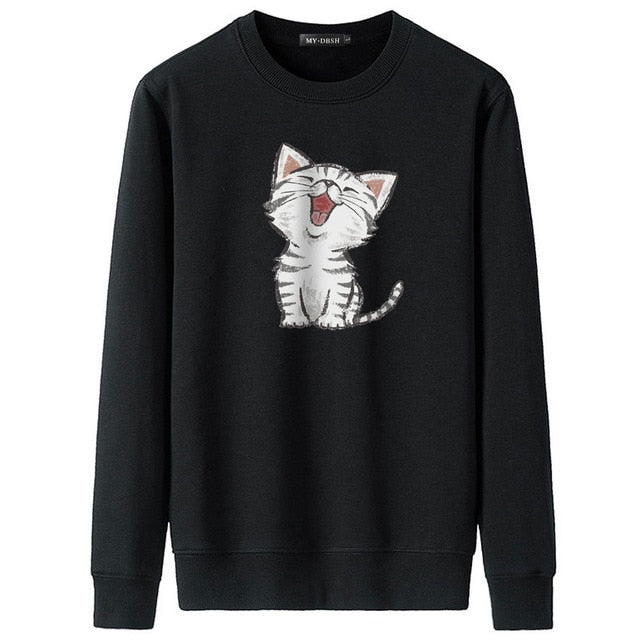 Cute Cat Print Sweatshirt
