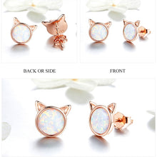 Load image into Gallery viewer, Rose Gold Cat Earrings