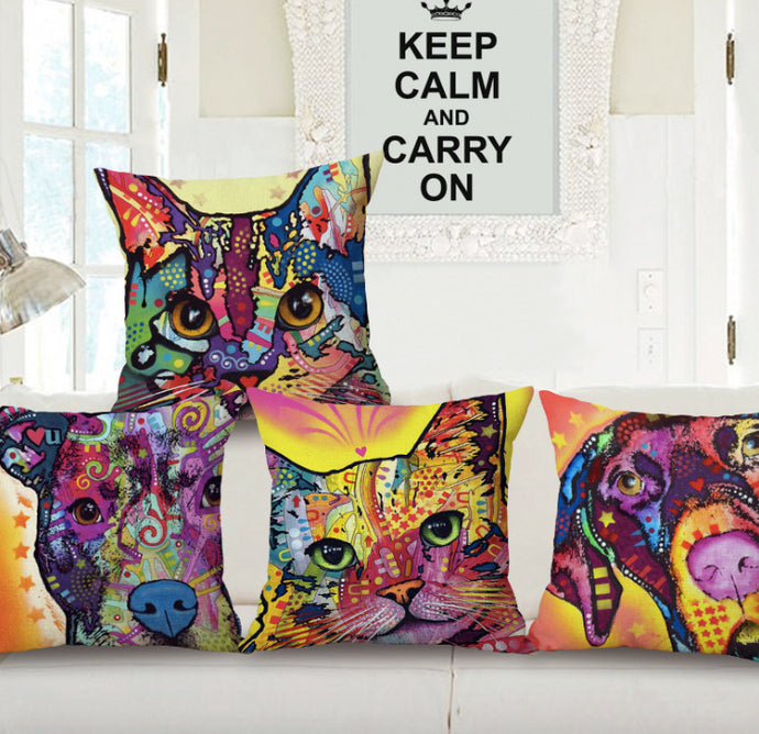 Colorful Cat Pillow Case