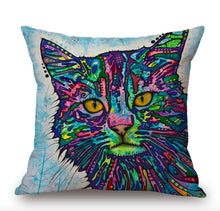 Load image into Gallery viewer, Colorful Cat Pillow Case