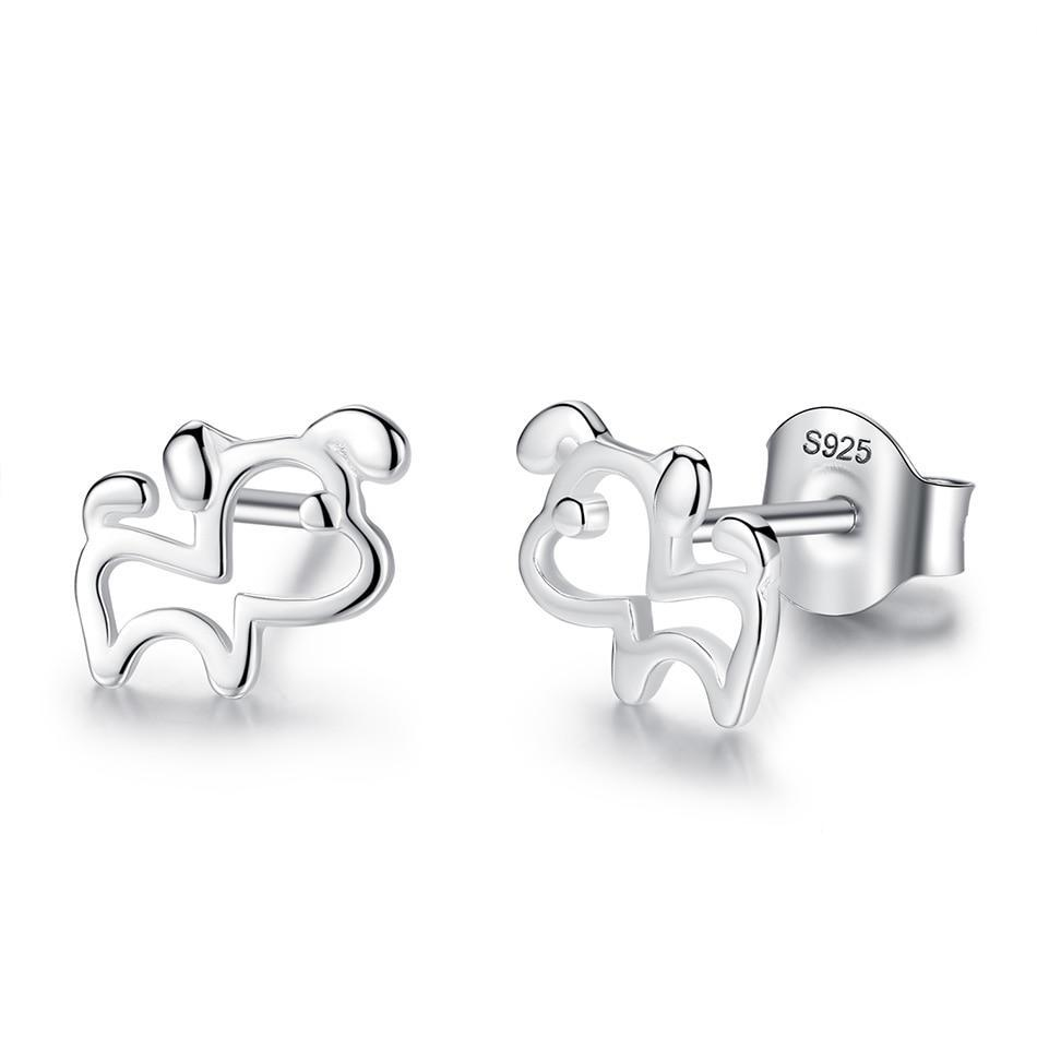925 Sterling Silver Dog  Earrings