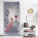 Waiting In The Rain 3d Stereo Door Sticker