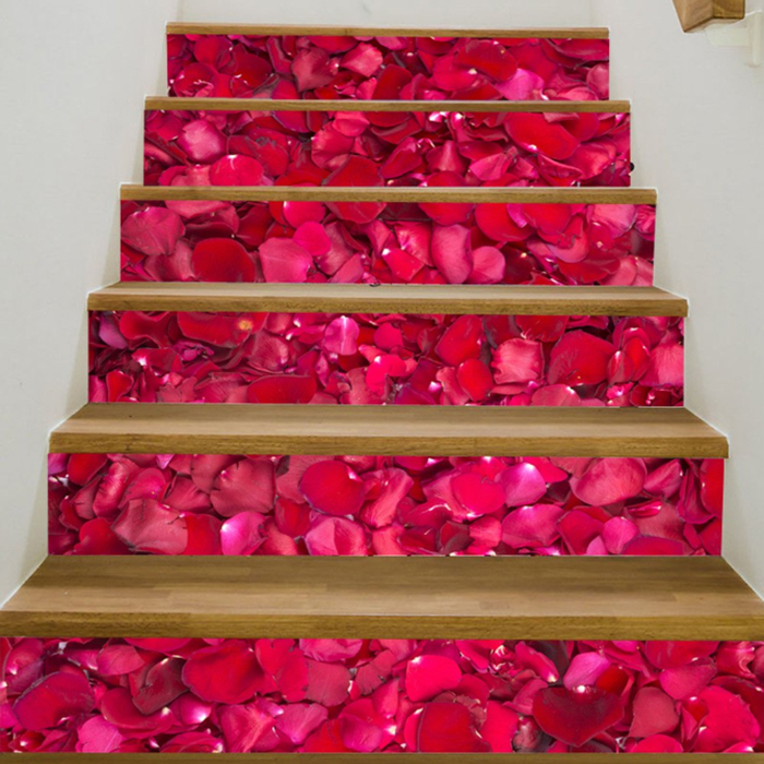 Creative Beautiful Petals Pattern PVC Stair Stickers