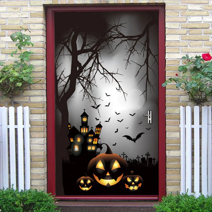 Halloween Pumpkin Castle Tree Printed Decorative Door Stickers