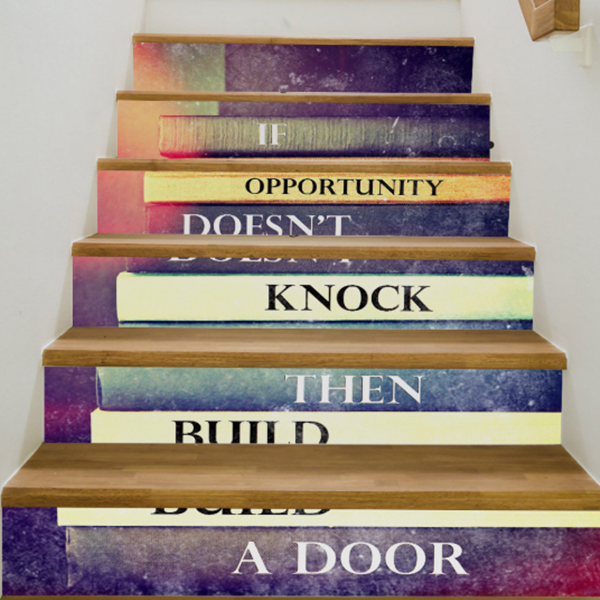 Creative 6Pcs 3D DIY Stair Stickers Courage Quete Vinyl Art Wall Decal Home Decor