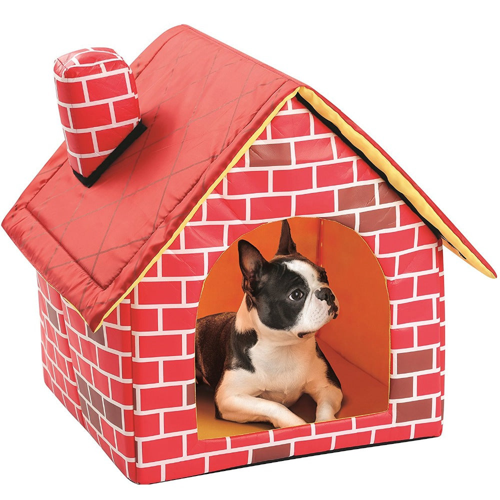 Dog Beds Portable Brick Pet Dog House Warm And Cozy Cat Bed