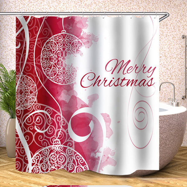 Christmas Theme Series Digital Printing Pattern Bathroom Curtain Mildew Waterproof Shower Curtain
