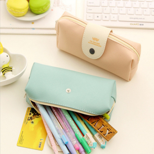 PU Fastener Pencil Case Pure Color Cosmetic Makeup Bag Coin Purse Pouch