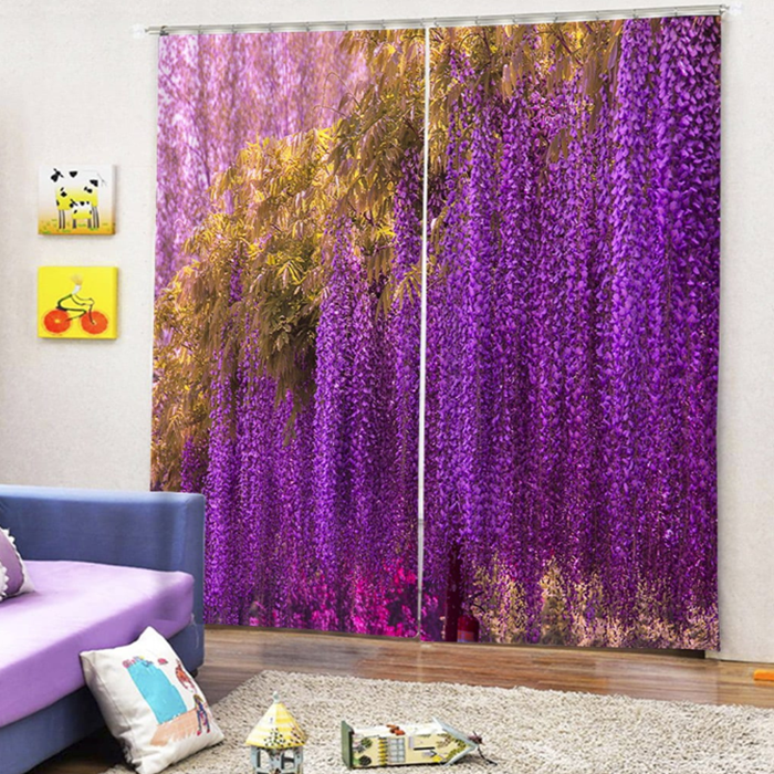 2PCS Wisteria Printed Window Curtains