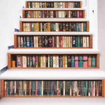 3D Simulation Bookcase Staircase Decorative Character Pattern Print Waterproof Stair Stickers