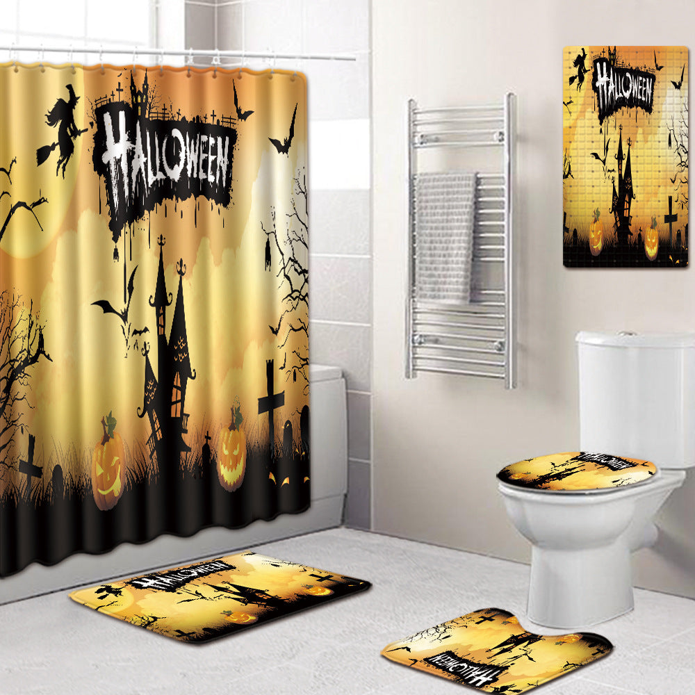 Halloween Shower Curtain Mats Five-Piece Carpets PVC Non-slip Mat Combination Shower Room Mat U-Shaped Toilet Mat