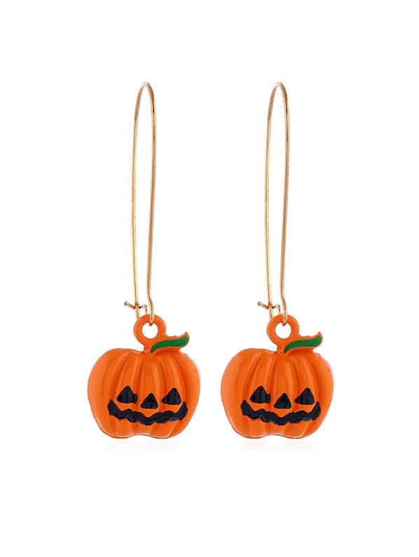 Halloween Pumpkin Long Drop Earrings