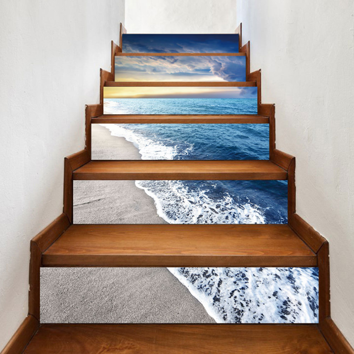 Creative 6Pcs 3D DIY Stair Stickers Blue Beach Art Wall Decal Home Decor